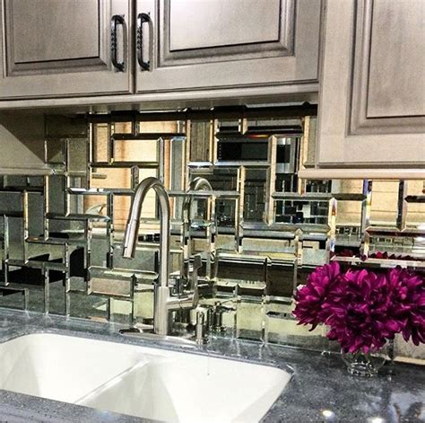mirror tile mirrored backsplash kitchen for the home