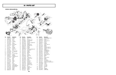 eager beaver chainsaw parts diagram mcculloch eager beaver eb356a eb358a chainsaw parts list
