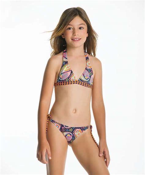 zulily little girls swimwear ondademar navy hot pink ritual side tie bikini tween