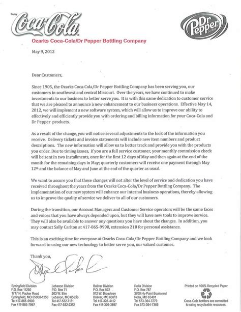 business letter to customer an open letter to our customers ozarks coca cola dr