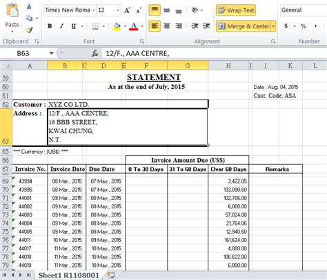 Bau Db Automate Excel As Pre Formatted Document Template Customer Statement Template