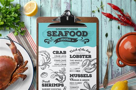 27 Restaurant Menu Templates With Creative Designs Seafood Menu Template