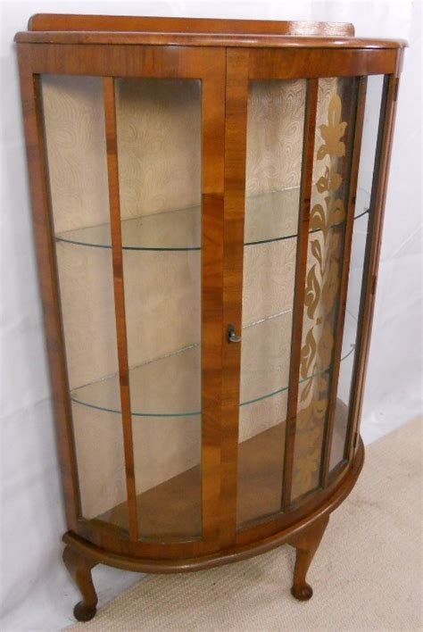 1950 s Walnut China Display Cabinet   SOLD