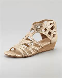 Wedges Gloss Gold lyst donald j pliner delite metallic cutout low wedge