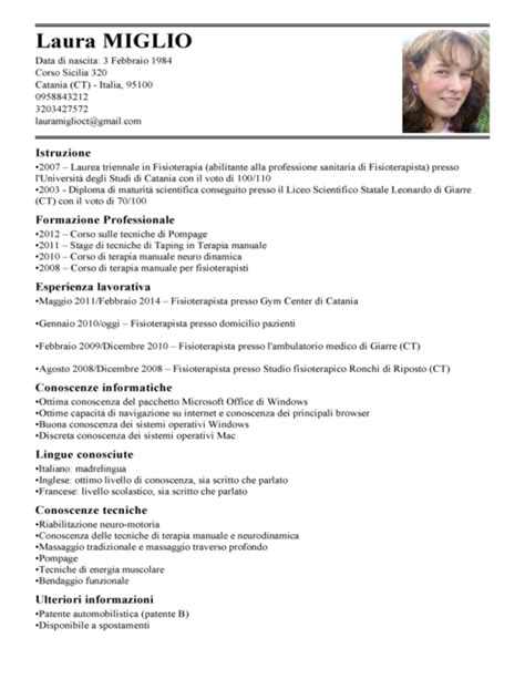 Formato Europeo Curriculum Vitae Fac Simile curriculum vitae fac simile compilato