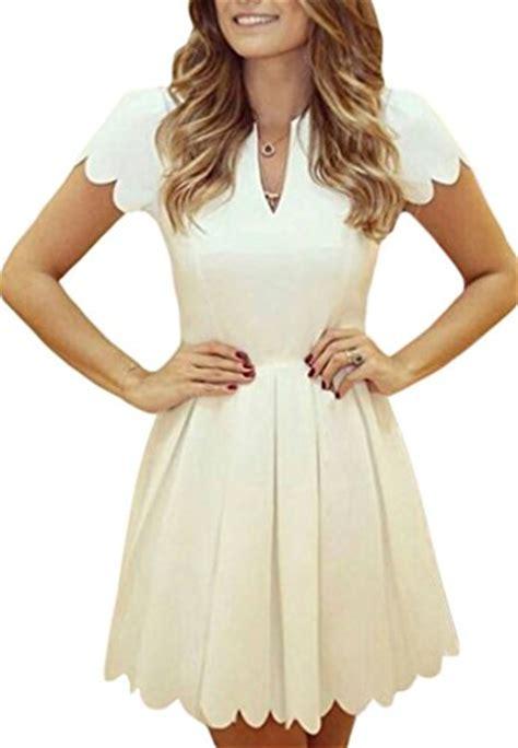 Sweet Pleats Dress sidefeel v neck sweet scallop pleated skater dress fashion