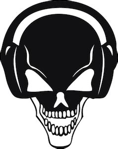 Yellow Grey Kitchen - skull headphones wall decal trendy wall designs