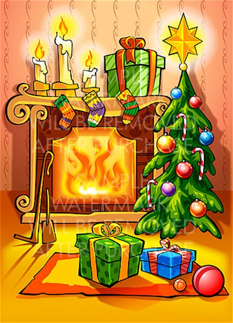 christmas fireplace clipart clipart suggest