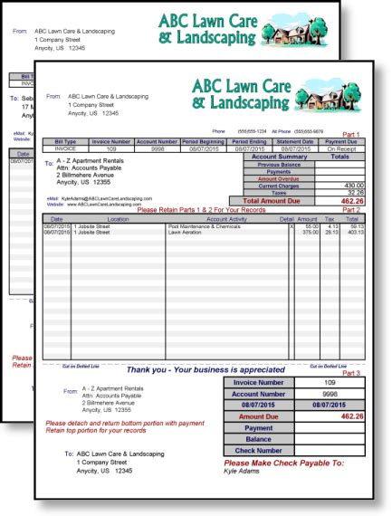 lawn care invoice template free joy studio design