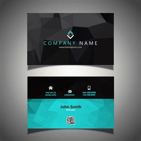 modern business card in low poly style vector free download