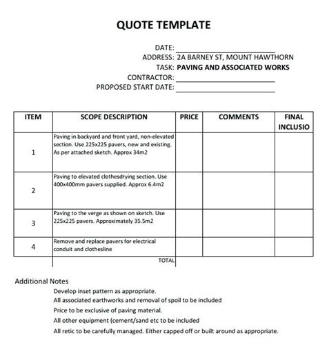 quotation layout template quote layout template sle quotation template excel