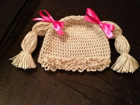 free crochet cabbage patch hair baby hat baby girl adorable cabbage patch hat complete with hair