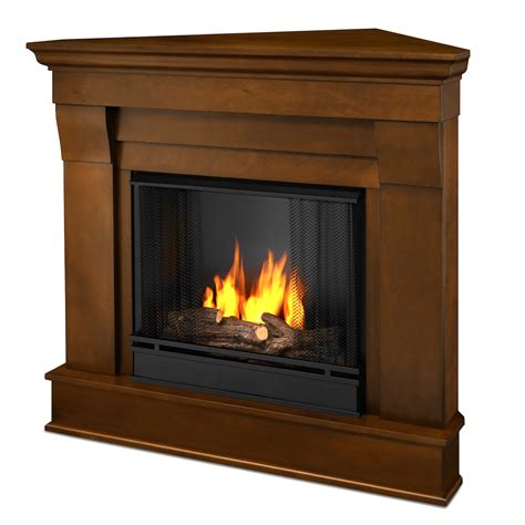 Flameless Fireplaces by Real Chateau Corner Ventless Gel Fireplace In Espresso