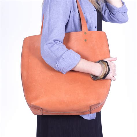 Vegetable Tanned South Tote ethically made vegetable tanned leather tote by lola and