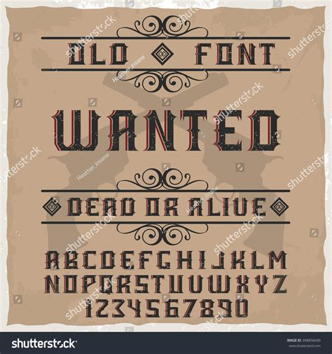 Handcrafted Font - handcrafted wanted font decorations gun background stock