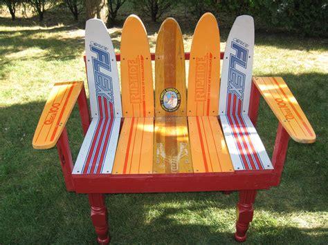 water ski bench fun bench we made from vintage water skis yard