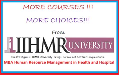 Mba In Hr And Administration by Of Health
