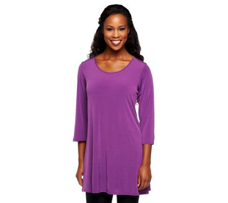 susan graver liquid knit susan graver essentials liquid knit 3 4 sleeve tunic