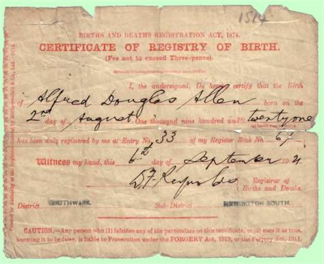 Birth Record Uk My Family History Annals By Alf Allen Birth Certificate 1921