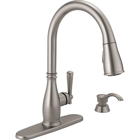 kitchen faucet with soap dispenser delta charmaine single handle pull sprayer kitchen