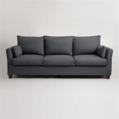 luxe sofa frame charcoal luxe 3 seat sofa frame and cover world market