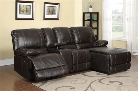 Small Reclining Sectional Sofas F Modern Small Cocoa Leather Reclining Sectional Sofa Push Back Chaise Contemporary