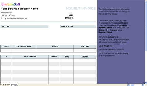hourly invoice form free download and review