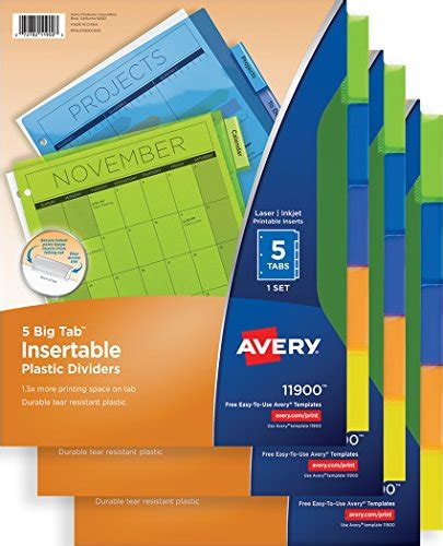 free shipping avery big tab insertable plastic dividers
