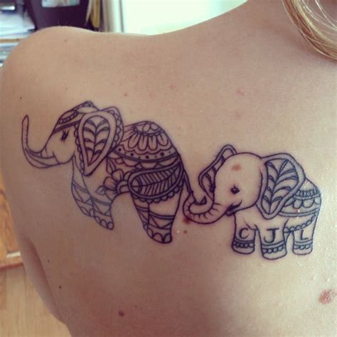 elephant tattoo mother and son initials tattoos