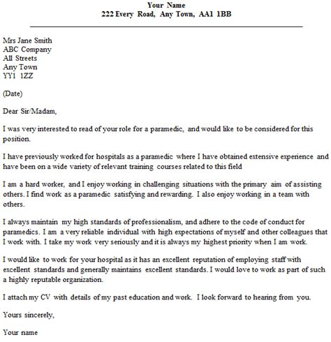 cover letter for document sle 28 paramedic cover letter sle lettercv paramedic cover