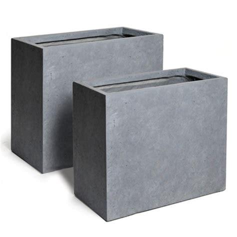 bac a rectangulaire bac 224 fleur rectangulaire en fibre de terre gris ciment lot de 2 dont 1 pot offert