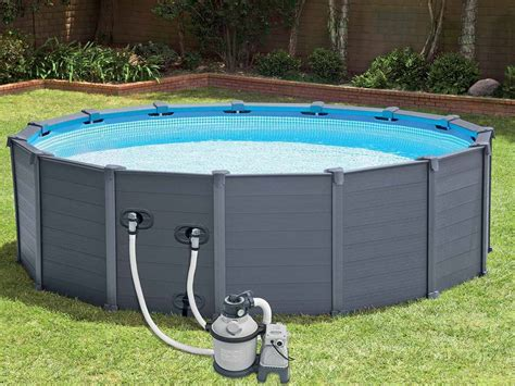 Piscine Tubulaire Hors Sol 1092 by Piscine Graphite Intex Grise 4 78 X 1 24 Piscine Tubulaire