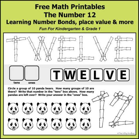 number bonds to 12 free math worksheets
