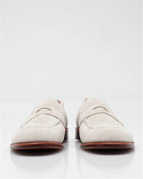 white suede loafers alden white suede loafer in white for lyst