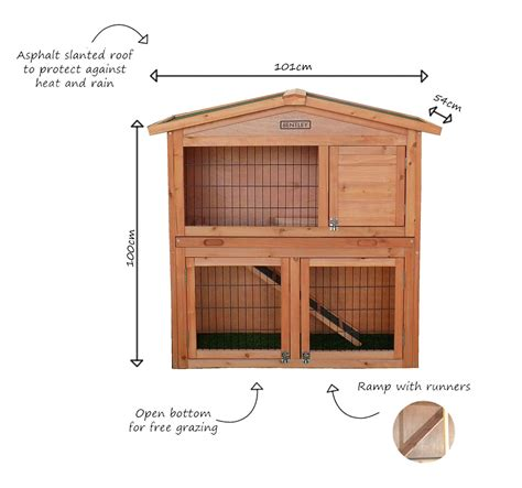 Hutch Area Bentley Pets Large Wooden Rabbit Guinea Pig Hutch 2 Tier