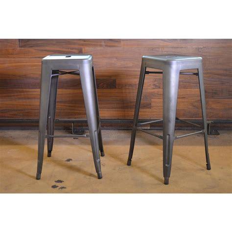 silver metal bar amerihome loft style 30 in stackable metal bar stool in