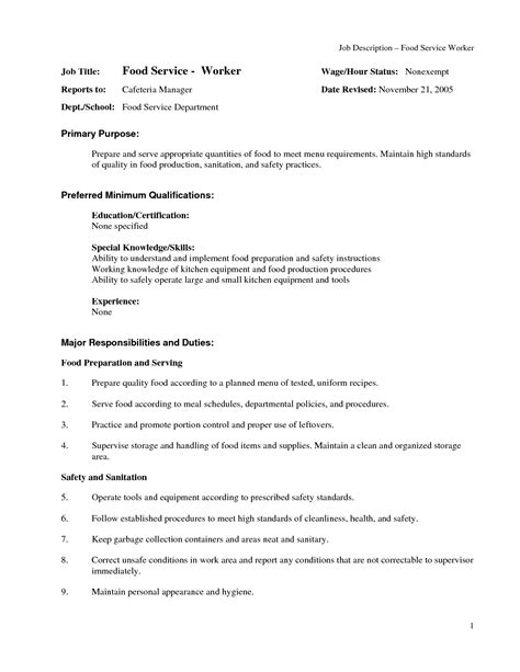 resume words for food service food service description for resume resume ideas