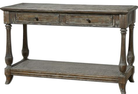 distressed wood sofa table mardonio distressed wood rustic console table