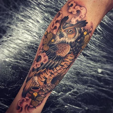 neo traditional owl tattoo owl by tom bartley i n k