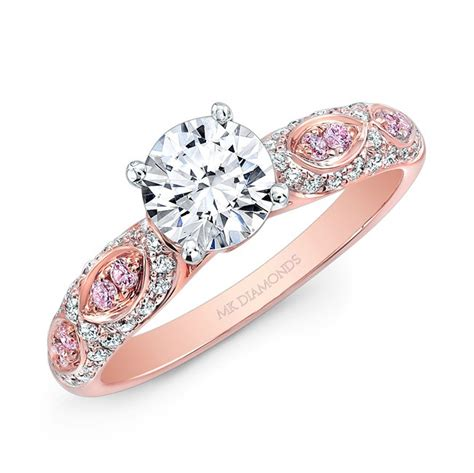 14k and white white and pink engagement ring