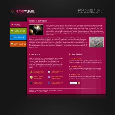 flash menu templates flash website template by rjoshicool themeforest