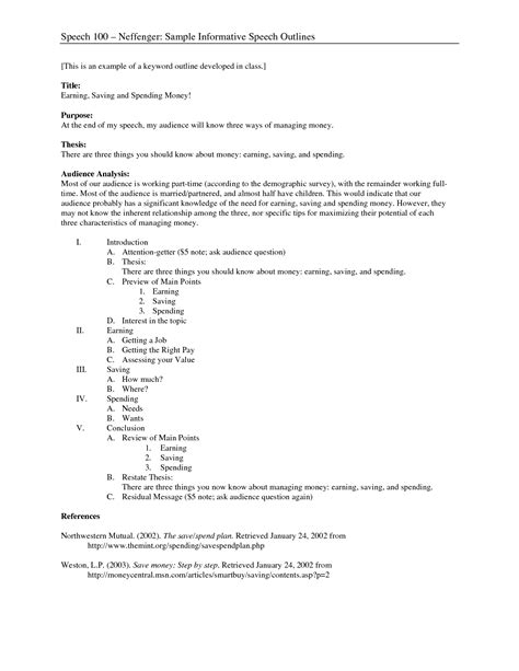 Outline For Informative Speech Template by Best Photos Of Key Word Outline Template Informative Speech Outline Template Exle Sle