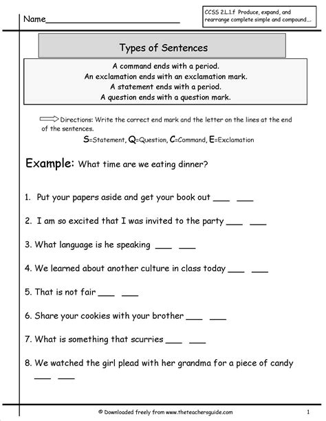 types of sheets identifying sentence types worksheet mmosguides