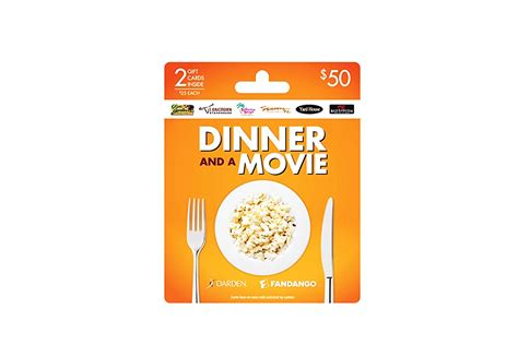 Dinner Movie Gift Cards - darden fandango dinner and movie gift card for two 50 movie bulb