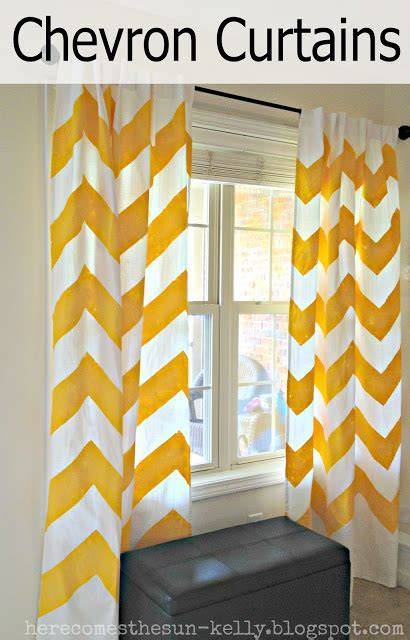 yellow and white chevron curtains new living room design