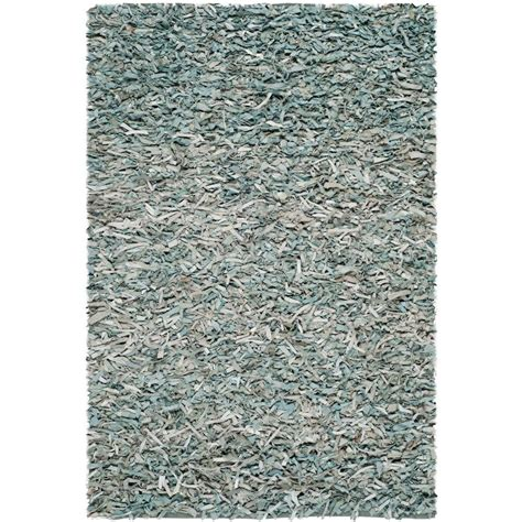 Leather Area Rug Safavieh Leather Shag Light Blue 8 Ft X 10 Ft Area Rug Lsg511l 8 The Home Depot