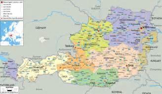 Germany Austria Map by Political Map Of Austria Ezilon Maps