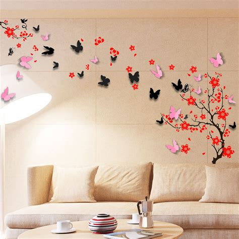 Wall Stiker Dinding Wall Sticker 3 Dimensi Stiker Dekorasi Stiker Anak wall sticker mural decal paper decoration blossom flower 3d butterfly family ebay