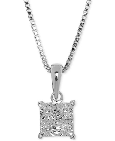 macy s accent pendant necklace in sterling silver