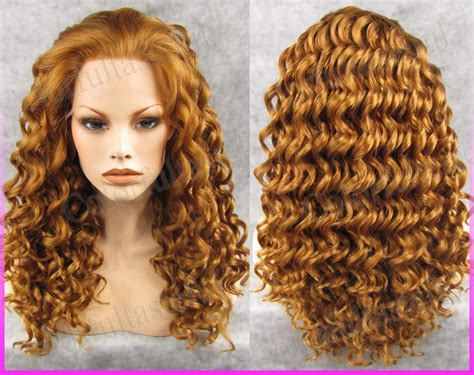 why is my hair curly in front and straight in back gold long wavy women front lace full wig goldenlace